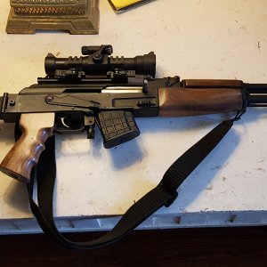 Arsenal SARM9F 7.62x39 with custom walnut furniture  Aimpoint 9000L 2moa red dot!